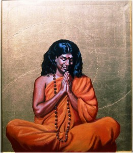 Swami Paramahamsa NithyanandaThis portrait was commissioned by the new centre for the London branch of The Life Bliss Foundation. I decided to paint him with a gilt background using a 23.5 carat gold leaf on the canvas and frame with a solvent size. The portrait was painted with the aid of photographs and videos since he lives in South India.